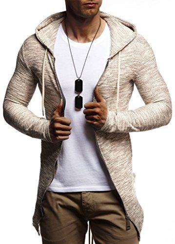 LEIF NELSON Herren Jungen Männer Sweatjacke Hoodie Kapuzenpullover Kapuzen Jacke Freizeitjacke Regenjacke Pullover Sweatshirt Basic Langarm Shirt Hoody LN8181; Größe M; Beige