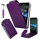 Magic Global Gadgets® – Etui à rabat en cuir PU, Cuir synthétique, violet, Samsung Wave Y S5380