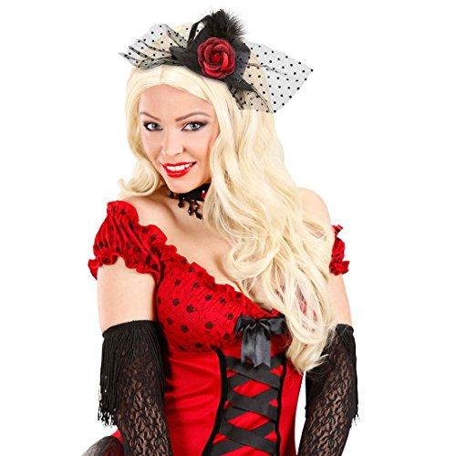 Rose Mini Zylinder Kleiner Gothic Hut Can-Can Minizylinder Saloon Girl Fascinator Schwarzer Burlesque Minihut Tänzerin Kostüm Zubehör