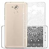 Coque Pour Huawei Honor 6C / Nova Smart , Sunrive® Silicone Étui Housse Protecteur souple TPU Gel transparent Back Case(tpu Fleur blanc 1)+ STYLET OFFERTS