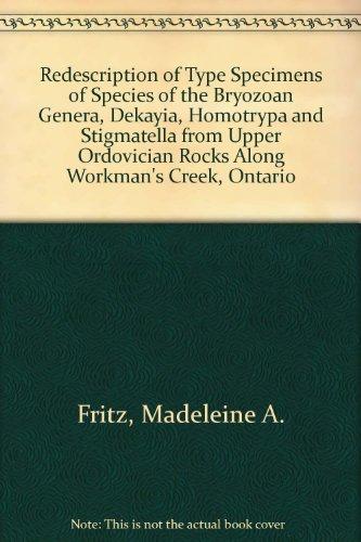 Redescription of Type Specimens of Species of the Bryozoan Genera, Dekayia, Homotrypa and Stigmatella from Upper Ordovician Rocks Along Workman's Creek, Ontario