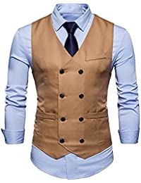 Demiawaking Homme Vintage Gilet Costume Casual Veste sans Manches Slim Fit  Business Mariage Couleur Unie Double 1248a752dca2