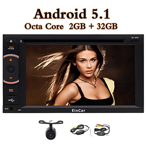 Android 5.1 Doppel Din im Schlag-Träger GPS-Auto-Stereo-Radio-Audiosystem 6.2 Zoll-Screen-Auto-DVD-Spieler Head Unit mit Bluetooth WiFi GPS Navigation & Wireless Rear Camera + Externes Mikrofon