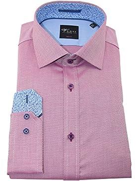 Venti Herrenhemd bodyfit rotes Hemd uni nah langarm Kent Kragen ohne Tasche Kollektion Size 44