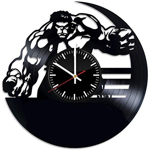 Welcome Everyday Arts Hulk Wanduhr aus Vinyl, einzigartiges Wohnzimmer, Küche, Schlafzimmer, Wanddekoration - Geschenkideen für Eltern und Freunde - Marvel Comics einzigartiges Fan Art - Professionelle Hulk Kostüm