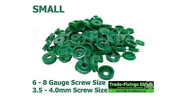 con/çus pour sadapter aux vis de calibre 6-8 ou aux vis de 3,5 /à 4 mm. Lot de 25 capuchons de vis de charni/ère verts