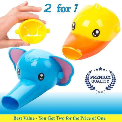Extensor de grifo para niños–Set de 2extensores de boquilla con formas de animales para lavabos–Para lavar las manos de bebés y niños pequeños. (Elefante + pato)