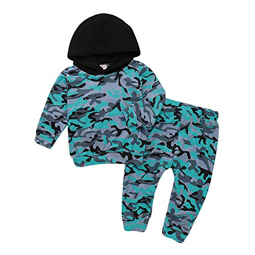 MEIbax Kleinkind Baby Jungen Mädchen Hoodie Camouflage Print Kapuzen Pullover Tops Langarmshirt+ Pants Kleidung Sets Outfits