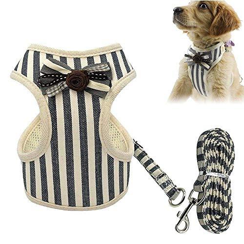 JSMeet Hundegeschirr-Set, Bowtie Heavy Duty Hundegeschirr aus atmungsaktivem Mesh, verstellbares Hundegeschirr und Leinen-Set mit Griff, gepolsterte Pet Puppy Comfort-Weste zum Gehen/Laufen -