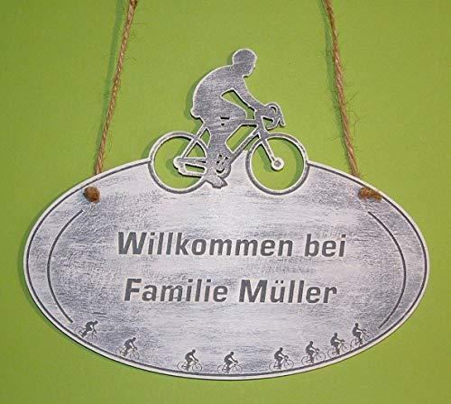 Türschild Rennrad Namensschild Wunschgravur Holz