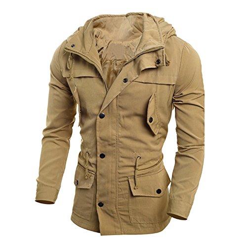 JYJM Herren Jacke Jugend Fashion Casual Jacke Herren Slim Jacket Coat Button Dicke Jacke Herren Warm Jacket Herren Multi Pocket Jacke Herren Long Windbreaker Herren Long Cotton Jacket