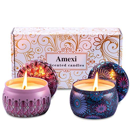 Amexi Duftkerzen, Lavendel, Rose Duftkerzen, Tragbare Reise Zinn Kerzen, 100{6446223712350961fad1aa25060307f63f474dfaf4bb0badee9a5b3ce07e0191} Sojawachs Kerze für Stressabbau und Aromatherapie, Kerzen Set - 2 Pack