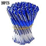 0.5mm Bolígrafos de Gel Pluma de Gel Papelería Bolígrafos de Tinta Gel Suministros Escuela de la Oficina Azul (20 piezas)