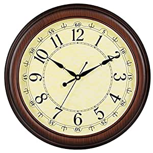 Tiant Uk American Solid Wood Retro Wall Clock Creative Silence Round Living Room Clock Color