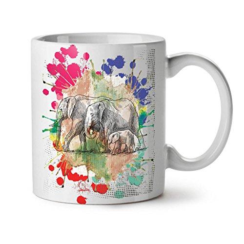 Wellcoda Elefant Familie Keramiktasse, Tiere - 11 oz Tasse - Großer, Easy-Grip-Griff, Zwei-seitiger Druck, Ideal für Kaffee- und Teetrinker