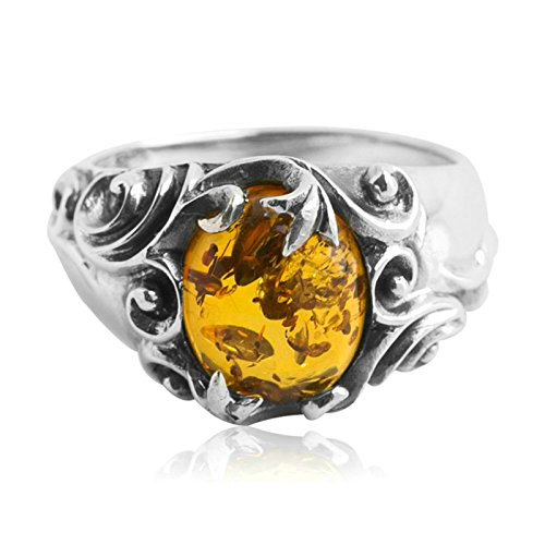 Herren Ringe Männer Silber Silber 925 Silber Tang Gras Eingelegter Bernstein Herrenringfür Herren Ringgröße 60 (19.1) ()