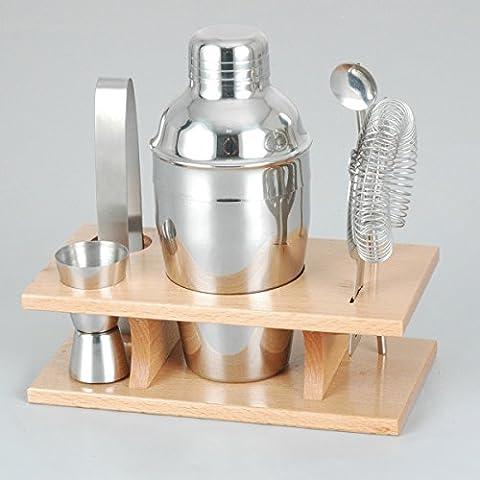 Pixnor Outils de Barre Bar Shaker à cocktail en acier inoxydable avec support en bois (Acciaio Inox Bar Set)