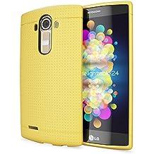 LG G4 Funda Carcasa de NICA, Protectora Movil TPU Silicona Fina Mesh Bumper Estuche con Puntos, Goma Gel Cubierta Cobertura Delgado Dot Cover Smartphone Case para Telefono LG G-4 - Amarillo