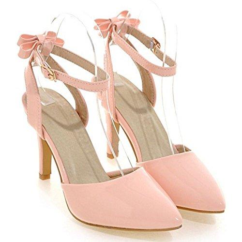COOLCEPT Damen Mode Knochelriemchen Sandalen Stiletto Geschlossene Slingback Schuhe Mit Bogen Gr Rosa