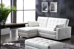 lederfaserstoff ecksofa eckcouch mit schlaffunktion und bettkasten lederlook weiss sofa couch. Black Bedroom Furniture Sets. Home Design Ideas