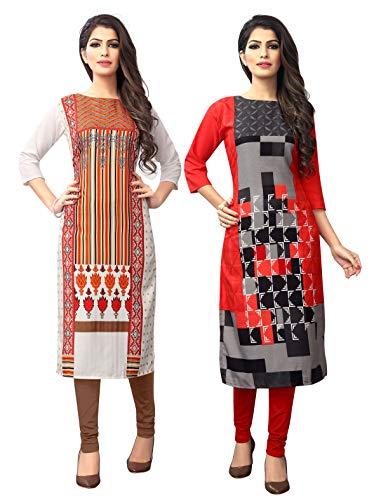 1 Stop Fashion Women's Multi-Coloured Crep Knee Long W Style Kurtas/Kurti (Pack of 2)
