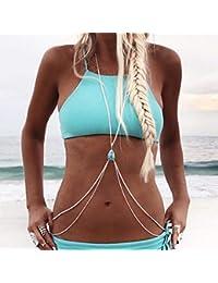 8e8ea8ffd1ff Simsly Beach Harnais tour de taille Chaîne de corps avec turquoise Bikini  Collier Bijoux pour femmes