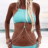 Simly - Arnés de playa con cadena de cintura y collar de bikini turquesa para mujeres y niñas XL-059