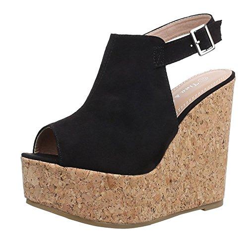 Ital-Design , chaussures compensées femme Noir