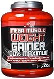 BWG Mega Muscle Weight Gainer 100% Maximum - perfekt für HardGainer und Massephasen - Kraftaufbau - Mega Vanilla - Dose mit Dosierlöffel - (1x 5000g Dose)
