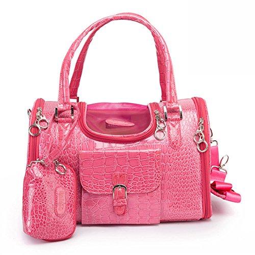Photo Gallery b-joy borsa trasportino finto coccodrillo modello cane gatto con portafoglio sportello superiore e borsa porticina laterale (m(40cm*26cm*20cm), rosa)