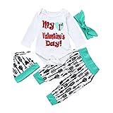 MRULIC Infant Baby Mädchen Jungen Brief Strampler Tops + Hosen + Mütze Süßes Baby-Outfit zum Valentinstag(Grün,Höhe:85-90cm)