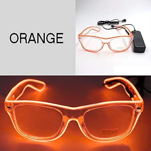 Aegilmc LED Neon leuchten Gläser, Neuheit Spielzeug Glühende Gläser Party Favor, für Halloween Nachtclub Weihnachten Frauen Männer,orange