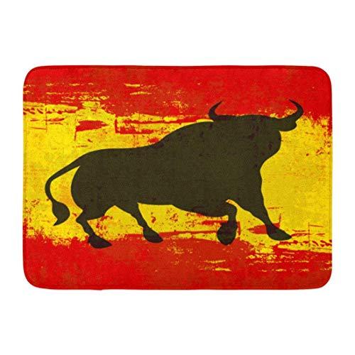 ghkfgkfgk Doormats Bath Rugs Outdoor/Indoor Door Mat Red Matador Spanish Bull Over Grunged Flag of Spain Yellow Toro Hispanic Bathroom Decor Rug 23.6 x 15.7 Inch -