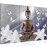 Bilder Buddha Blumen Wandbild 120 x 80 cm Vlies - Leinwand Bild XXL Format Wandbilder Wohnzimmer Wohnung Deko Kunstdrucke Blau 3 Teilig -100% MADE IN GERMANY - Fertig zum Aufhängen 505631a