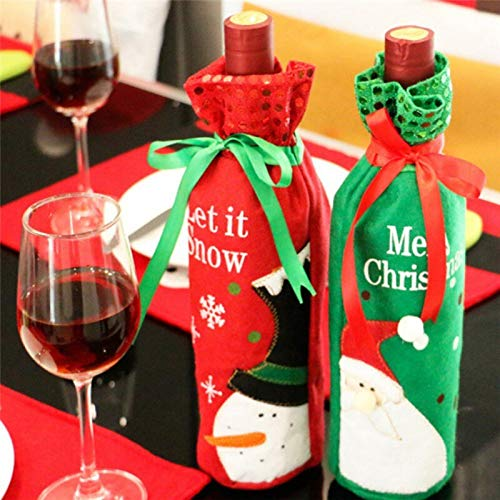 Set Cover - Christmas Style Festival Party Sequins Santa Claus Wine Bottle Snowman Cover Home Decor Improvement - Camry 2015 Girls Durango Seat Jetta 2013 Soul Elantra 2004 Sonanto Covers Cha