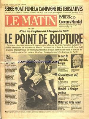 MATIN DE PARIS (LE) [No 2888] du 16/06/1986 - SERG...