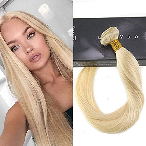 LaaVoo 22 zoll 100 Human Hair Weave Extensions Echthaar Tressen Gebleichtes Blond #613 100GR One Bundle Weave Sew in Wefts Glatt