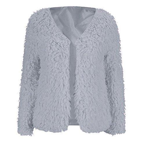 Preisvergleich Produktbild Langarm Pullover Winter Damen Sunday Frauen Flaumiger Mantel Warme Strickjacke Jacke Outwear Tops (Grau, M)
