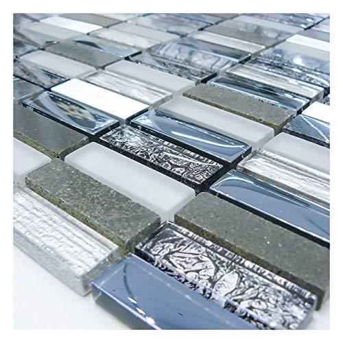 Dark Blue Glass Marble Steel Mosaic Walls Floors Tiles Sheet Bathroom 30cmx30cm