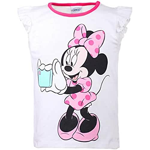 DISNEY Niñas Minnie Mouse Camisa, blanco