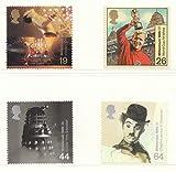 1999Millennium Serie, die Entertainer Tale Briefmarken. Set von 4, unmontiert mint Entertainer Tales–Präsentation Pack:: 19P Stempel–Freddie Mercury/Queen:: 26P Stempel–Bobby Moore/WORLD CUP 1966:: 44P Stempel–DR WHO–Dalek:: 64P Stempel–Charlie Chaplin