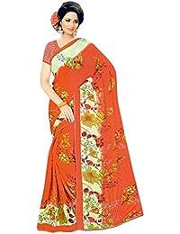 The Wardrobe Women's Georgette Saree(Wardrobe010_Multi-Coloured_Free Size)