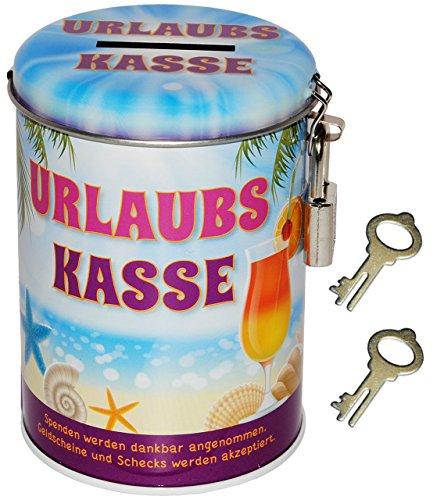 alles-meine.de GmbH Spardose - Urlaubs Kasse - mit 2 Schlüssel und Schloss - Blechdose - stabile Sparbüchse aus Metall - Geld Sparschwein / Blechspardose - für Kinder & Erwachsen.. -