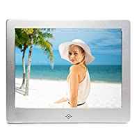V?�fa?�?� Digital Picture Frame 8 Inch Electronic Photo Music Video Playback HD 1024x768 Pixels Present for Wedding & Festival (2G SD SILVER)