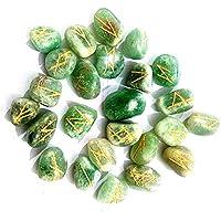 Edelstein Runen mit Gravur Beschriftung und Beutel (Aventurin grün) preisvergleich bei billige-tabletten.eu