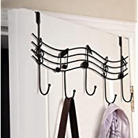 Vanvo Wrought Vintage Music Note Style Metal Coat Hanger Wrought Iron Rack Robe Wall Mount Hooks Home Decor Bronze
