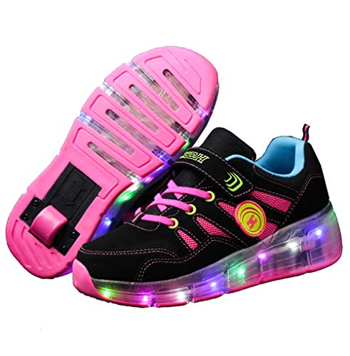 Recollect LED Rollschuh Schuhe Kinder LED Lichter Blinken Einstellbare Räder Technologie Skateboardschuhe Gymnastik Running Turnschuhe für Jungen Mädchen,Pink,32EU