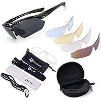 ROCKBROS Ciclismo Occhiali da sole, occhiali da sole polarizzati sport all' aperto 100% UVA UVB Protezione degli occhi Occhiali 5Lens per sport all' aperto nero Black