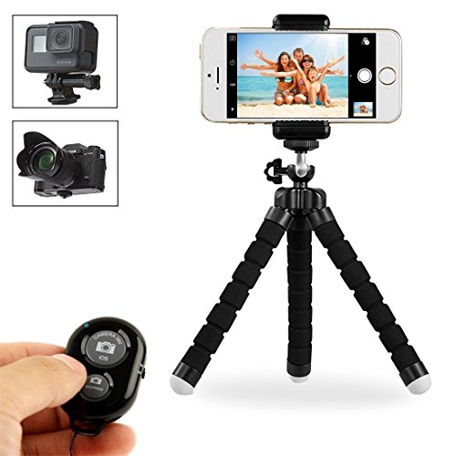 Handy Stativ, Stativ Flexibel,Stativ Flexibel iPhone, Gopro Stativ mit Bluetooth Fernbedienung, Telefonhalterung Accessory, Gopro Accessory für iPhone 6S, 6 Plus, 7S, 7 Plus, Samsung Galaxy S7, S8,Nikon D5300, oder andere Gopro (Beine Wickeln Universal)