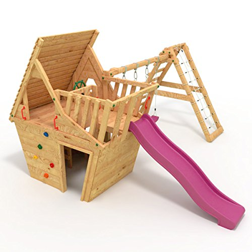 BIBEX® Spielturm - Wunderhäuschen + Rutsche, 2xSchaukel, Knotennetz, Klettersteine, Möbel Lila/Violet Rutsche/Schaukel